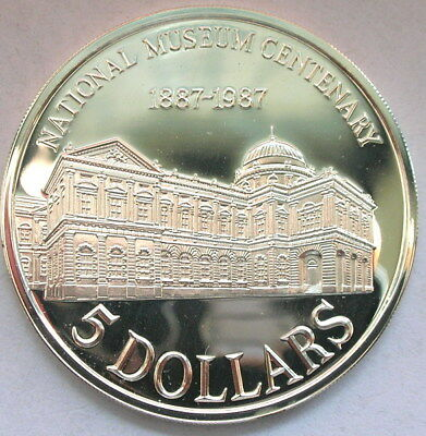 Singapore 1987 National Museum 5 Dollars Silver Coin,Proof,With Box COA
