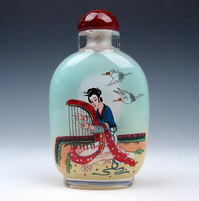 Peking Glass Inside Reverse Hand Painted LARGE Snuff Bottle Ladies & Instruments