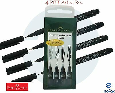 FABER-CASTELL - PITT ARTIST - 4 PEN SET - BLACK INDIA  INK Fast Postage (New)
