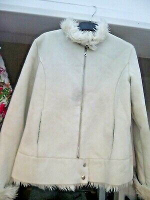 cream faux suede jacket fully lined with white faux fur by Denim co size 16