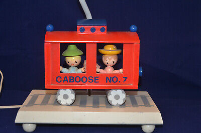 Vintage IRMI 1975 Red Caboose No. 7 Lamp with Night Light No Shade