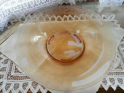 Vintage Amber etched glass center table compote fruit bowl