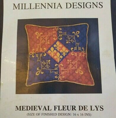 Millennia Designs Needlepoint Tapestry Kit Medieval Fleur De Lys discontinued