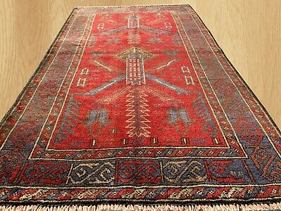 Authentic Hand Knotted Afghan Balouch Wool Area Rug 4.5 x 2.7 Ft (149 HM)