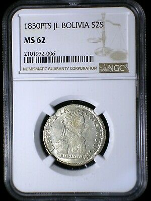 Bolivia 1830 PTS JL Silver 2 Soles *NGC MS-62* RARE in UNC Only 4 Graded Higher