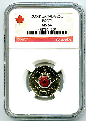 2004 P Canada 25 Cent Ngc Ms66 Uncirculated Poppy Quarter Colorized Low Pop
