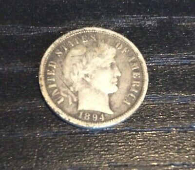 1894-O 10 C Barber Dime, Very Good+ Condition, cut in obv field behind portrait