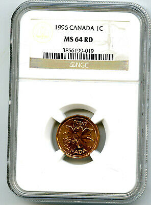 1996 Canada One Cent Ngc Ms64 Rd Copper Penny Uncirculated Extremely Rare
