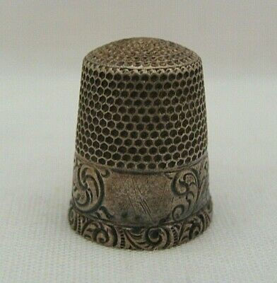 Waite Thresher Sterling Silver Thimble With Scroll Pattern No Monogram Size 10?