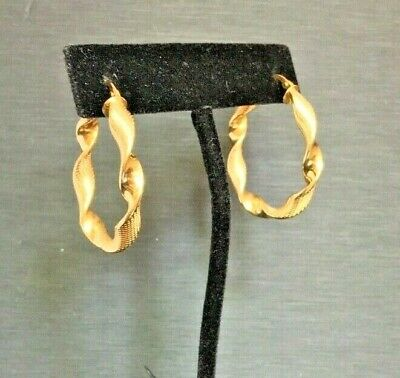 Italy 18 Kt Yellow Gold Twisted Hoop Earrings