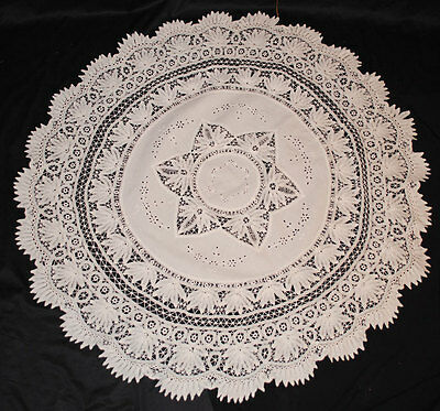 "Victorian Battenburg Tape Lace Tablecloth  52"" Round"