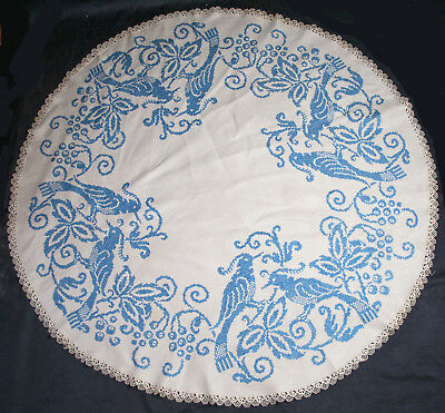"Vtg Embroidered Blue Birds Tablecloth 54"" Round 1940's Cross Stitch Centerpiece"
