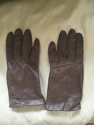 LADIES l BROWN LEATHER WINTER GLOVES  SIZE  Small