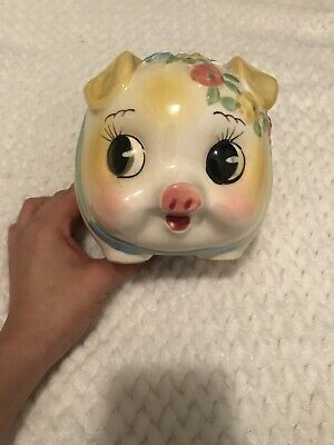 Vintage Lefton Ceramic Pink Floral Pig Coin Bank-Beautiful Condition-Great Gift!