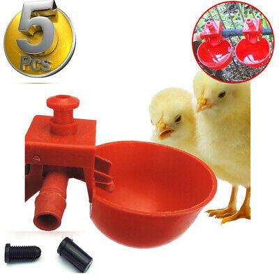 5pcs Automatic Chicken Feeder Plastic Cups Poultry Water Drinker Coop Cage Bird