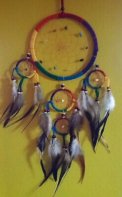 Native American Design Rainbow Dreamcatcher With Quail Feathers And Crystals