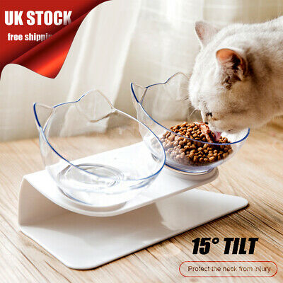Non-slip Cat Double Bowls with Raised Stand Pet Food Water Bowl Cats Dog Feeder-