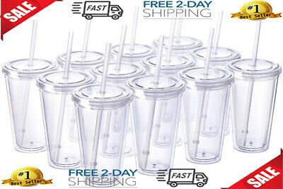 Classic 12 Insulated Double Wall Tumbler Cup Lid Reusable Straw 16 oz Bulk Pack