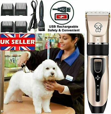 7PC Pet Dog Cat Hair Clippers Trimmer Grooming Electric Shaver Low Noise