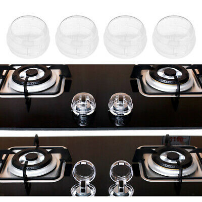 4Pieces Oven Stove Gas Hob Knob Clear Covers ASB Plastic Kids Proof Safe