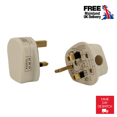 2x High Quality Main Power UK Plug 3 Pin 13Amp White Plug Top Fused Fitted