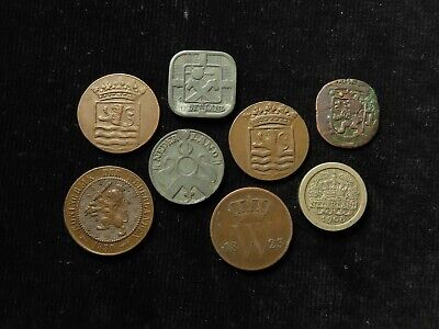 Netherlands & Colonies Collection of 7x Coins 18th-20thC