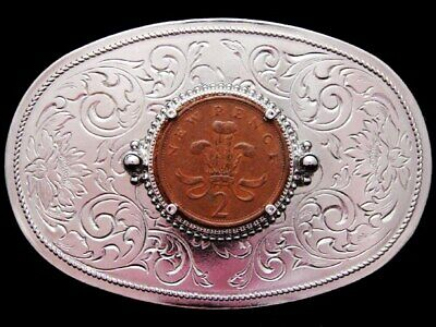 JF19109 VINTAGE 1970s **NEW PENCE 2P BRITISH COIN** SILVERTONE BELT BUCKLE