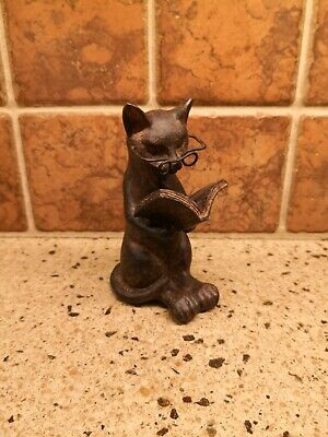 Young's Resin Cat Reading Figurine with Glasses, 4.75-Inch - Dark Brown
