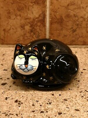 RARE Milson and Louis Ceramic Hand Painted Trinket Box Black Cats Kittens