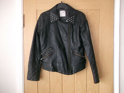 Girls Next Faux Leather Biker Style Jacket-Stud Detail. Age 11-12. Good Cond.