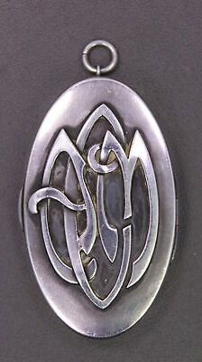 Vintage Sterling SIlver Makeup Compact w/ Calligraphy Pop-Out Monogram ACM (?)