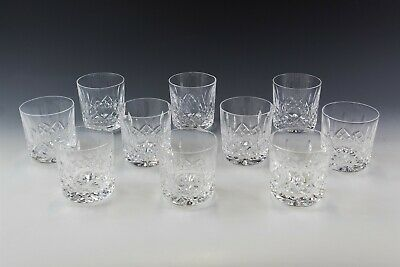 Set Of 10 Signed Waterford Deep Cut Crystal Lismore Old Fashioned Tumbler MLL #1