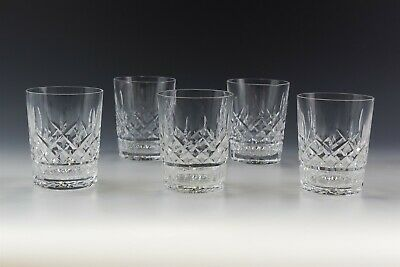 Set 5 Signed Waterford Deep Cut Crystal Lismore Double Old Fashioned Tumbler MLL