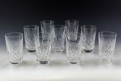 Set Of 9 Signed Waterford Deep Cut Crystal Lismore Pattern 12oz Flat Tumbler MLL