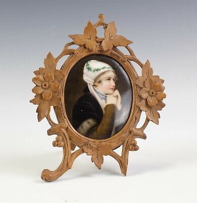 Antique Painted Porcelain Maiden Plaque in Ornate Hand Carved Wood Wooden Frame