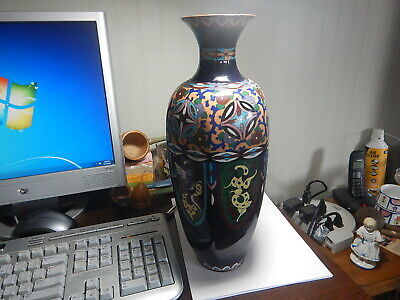 Cloisonne old vase, drilled for lamp, 15 inch tall nice old estate