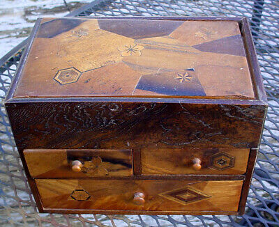 RARE ANTIQUE 19tHC JAPANESE INLAYED EXOTIC WOODS BOX W/ 3 DRAWERS TOP COMES OUT