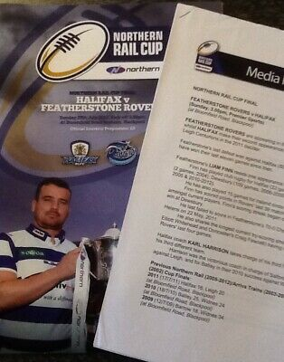 Rugby League Northern Rail Cup Final Programme Halifax V Featherstone  2012