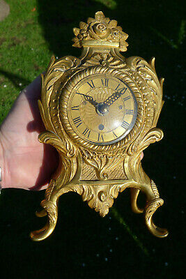 Antique ROCOCO English Ormolu Mantle Convex glass Clock ex.fusee/silk suspension