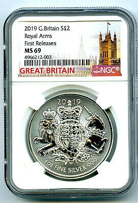 2019 2Pd Great Britain 1Oz Silver Royal Arms Ngc Ms69 First Releases