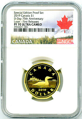 2019 $1 Canada Loonie Ngc Pf70 Loon Dollar Special D-Day Proof First Releases