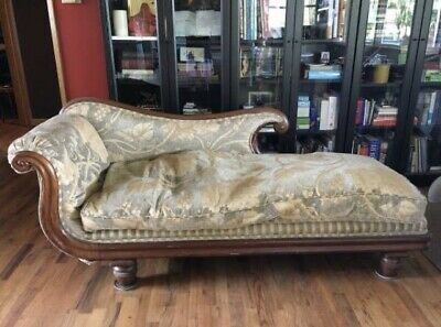 Antique 1800's Neo Classical Fainting Couch Mahogany Trim Chaise Sofa Seattle