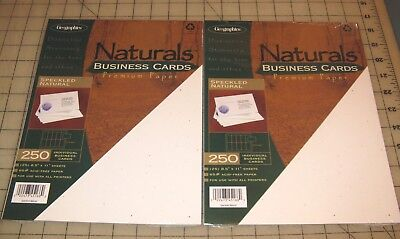 2 Geographics Naturals SPECKLED NATURAL 250-Ct BUSINESS CARDS Packs NEW, My Last