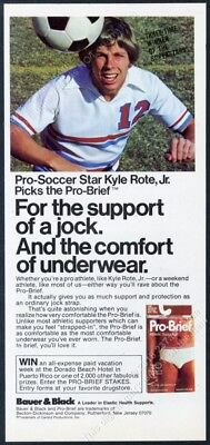 1977 Kyle Rote Jr photo with soccer ball Pro Brief jock strap vintage print ad