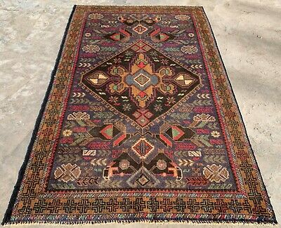 Authentic Hand Knotted Afghan Balouch Wool Area Rug 5 x 3 Ft (151 HM)