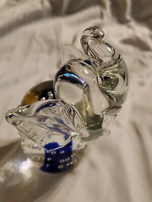 Blown Clear Glass Elephant Raised Trunk Paperweight Controlled Bubbles Figurine