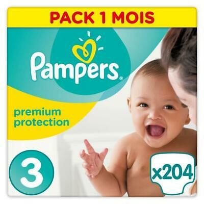PAMPERS Premium Protection Taille 3 - 5 a 9 kg - 204 Couches - Pack 1 Mois