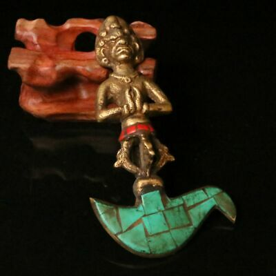 Nepal Handmade Brass Statue Inlaid turquoise Red Coral Religion Amulet 20052