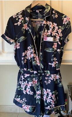 Victoria Secret Satin Silk One Piece Romper Sleepwear Pajamas XS navy Floral