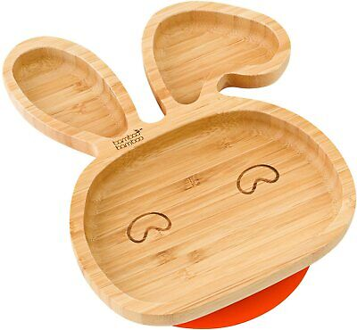 Baby Toddler Bunny Suction Plate, Stay Put Feeding Plate, Natural Bamboo(Orange)